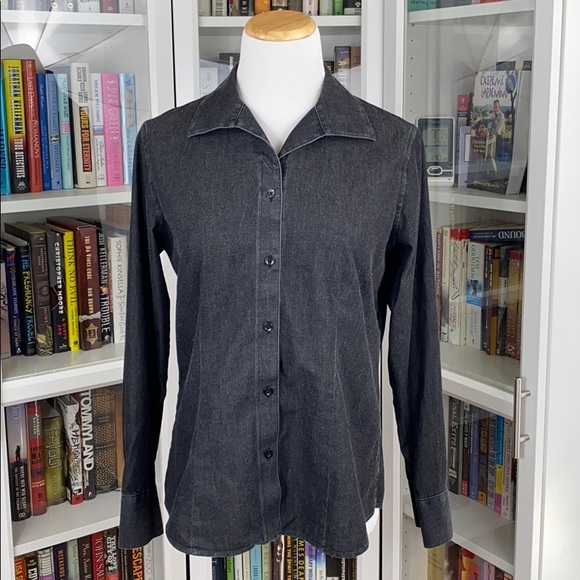 Chico's No Iron Black Denim Button Front Shirt